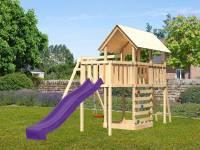 Akubi Spielturm Danny Satteldach + Rutsche violett + Einzelschaukel + Anbauplattform + Kletterwand