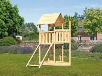 Akubi Spielturm Lotti Satteldach + Schiffsanbau oben + Netzrampe