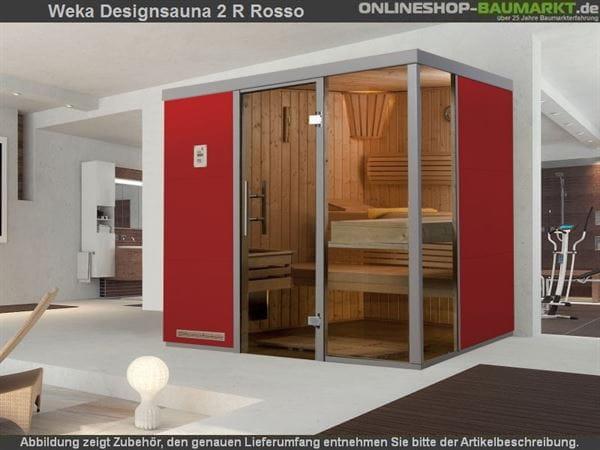 Weka Wellnissage Premium Designsauna 2R Rosso ohne Ofen inkl. Montage