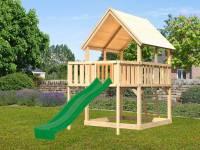 Akubi Spielturm Luis Satteldach + Rutsche grün + Anbauplattform