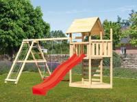 Akubi Spielturm Lotti Satteldach + Schiffsanbau oben + Doppelschaukel mit Klettergerüst + Kletterwan