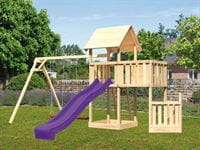 Akubi Spielturm Lotti + Schiffsanbau unten + Anbauplattform + Doppelschaukel + Rutsche violett