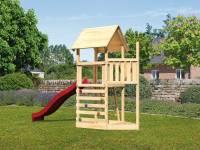 Akubi Spielturm Lotti Satteldach + Schiffsanbau oben + Kletterwand + Rutsche in rot