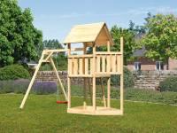 Akubi Spielturm Lotti Satteldach + Schiffsanbau oben + Einzelschaukel