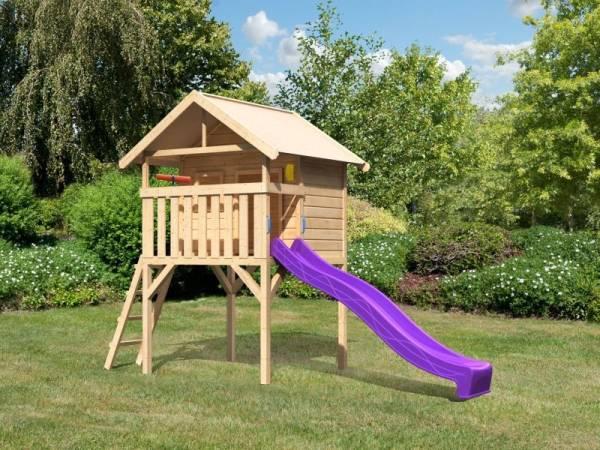 Akubi Spielhaus Leni mit Rutsche in violett und Spielset