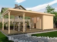 Weka Gartenhaus 225 Gr. 2 und Anbaudach 445 cm