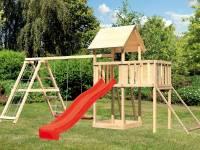 Akubi Spielturm Lotti Satteldach + Rutsche rot + Doppelschaukelanbau Klettergerüst + Anbauplattform
