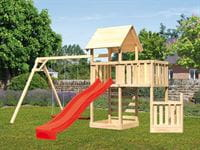 Akubi Spielturm Lotti + Schiffsanbau unten + Anbauplattform + Doppelschaukel + Kletterwand + Rutsche