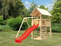Akubi Spielturm Danny Satteldach + Rutsche rot + Einzelschaukel + Kletterwand