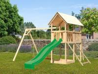 Akubi Spielturm Danny Satteldach + Rutsche grün + Doppelschaukel + Netzrampe