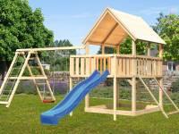 Akubi Spielturm Luis Satteldach + Rutsche blau + Doppelschaukelanbau Klettergerüst + Anbauplattform