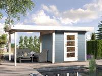Weka Gartenhaus 172 Größe 2 in grau mit Anbaudach 300 cm
