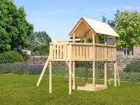 Akubi Spielturm Danny Satteldach + Einzelschaukel + Anbauplattform XL