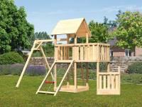 Akubi Spielturm Lotti + Schiffsanbau unten + Anbauplattform + Netzrampe + Einzelschaukel