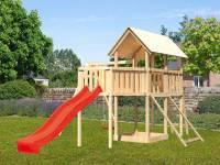 Akubi Spielturm Danny Satteldach + Rutsche rot + Einzelschaukel + Anbauplattform XL + Netzrampe