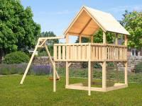 Akubi Spielturm Luis Satteldach + Einzelschaukel + Anbauplattform
