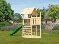 Akubi Spielturm Lotti Satteldach + Schiffsanbau oben + Kletterwand + Rutsche in grün