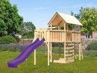 Akubi Spielturm Danny Satteldach + Rutsche violett + Einzelschaukel + Anbauplattform XL + Kletterwan