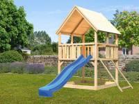 Akubi Spielturm Luis Satteldach + Rutsche blau + Anbauplattform + Netzrampe
