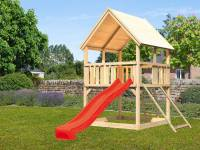 Akubi Spielturm Luis Satteldach + Rutsche rot + Anbauplattform + Netzrampe