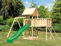 Akubi Spielturm Lotti Satteldach + Rutsche grün + Einzelschaukel + Anbauplattform XL + Netzrampe