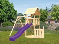 Akubi Spielturm Lotti + Schiffsanbau unten + Einzelschaukel + Rutsche in violett