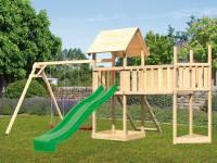 Akubi Spielturm Lotti Satteldach + Schiffsanbau oben + Doppelschaukel + Anbauplattform XL + Netzramp