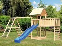 Akubi Spielturm Lotti Satteldach + Rutsche blau + Doppelschaukel Klettergerüst + Anbauplattform XL +