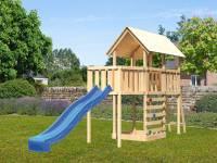Akubi Spielturm Danny Satteldach + Rutsche blau + Anbauplattform + Kletterwand