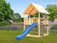 Akubi Spielturm Luis Satteldach + Rutsche blau + Anbauplattform + Kletterwand