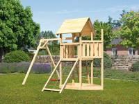 Akubi Spielturm Lotti Satteldach + Schiffsanbau oben + Einzelschaukel + Netzrampe