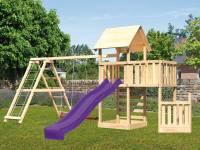 Akubi Spielturm Lotti + Schiffsanbau unten + Anbauplattform + Kletterwand + Doppelschaukel mit Klett
