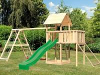 Akubi Spielturm Lotti Satteldach + Rutsche grün + Doppelschaukelanbau Klettergerüst + Anbauplattform