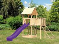 Akubi Spielturm Lotti natur mit Anbauplattform, Netzrampe und Rutsche violett