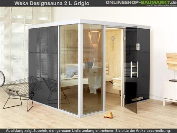 Weka Wellnissage Premium Designsauna 2L Grigio ohne Ofen inkl. Montage
