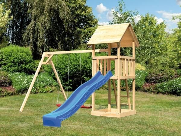 Akubi Spielturm Lotti Set mit Doppelschaukel und Rutsche in blau