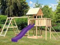 Akubi Spielturm Lotti Satteldach + Rutsche violett + Doppelschaukelanbau Klettergerüst + Anbauplattf
