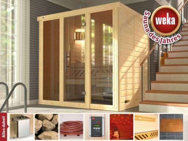 Weka Massivholzsauna Kemi 2 Panorama inkl. 7,5 kW Ofen und Farblicht
