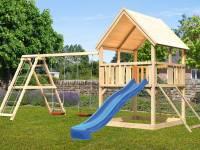 Akubi Spielturm Luis Satteldach + Rutsche blau + Doppelschaukelanbau Klettergerüst + Netzrampe
