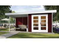 Weka Gartenhaus 126 Gr. 2 in schwedenrot mit Anbaudach 300 cm