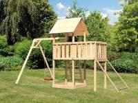 Akubi Spielturm Lotti natur mit Anbauplattform, Netzrampe und Einzelschaukel