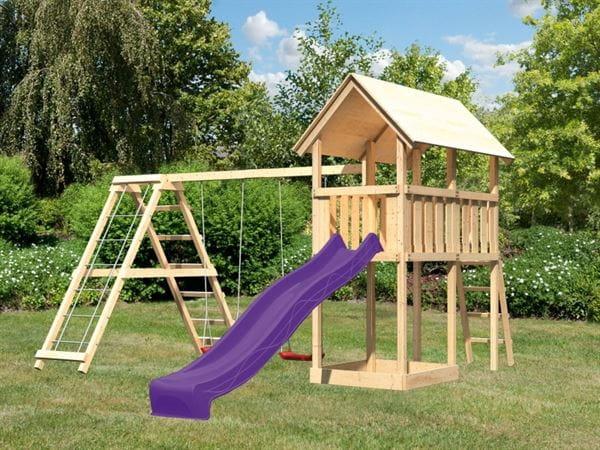 Akubi Spielturm Danny mit Doppelschaukel inkl. Klettergerüst und Rutsche in violett