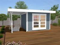 Weka Gartenhaus 126 Gr. 2 in grau mit Anbaudach 150 cm