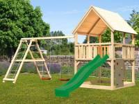Akubi Spielturm Luis Satteldach + Rutsche grün + Doppelschaukelanbau Klettergerüst + Kletterwand
