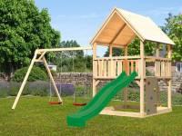 Akubi Spielturm Luis Satteldach + Rutsche grün + Doppelschaukel + Kletterwand