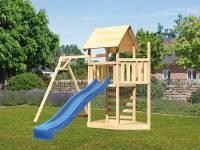 Akubi Spielturm Lotti Satteldach + Schiffsanbau oben + Einzelschaukel + Kletterwand + Rutsche in bla