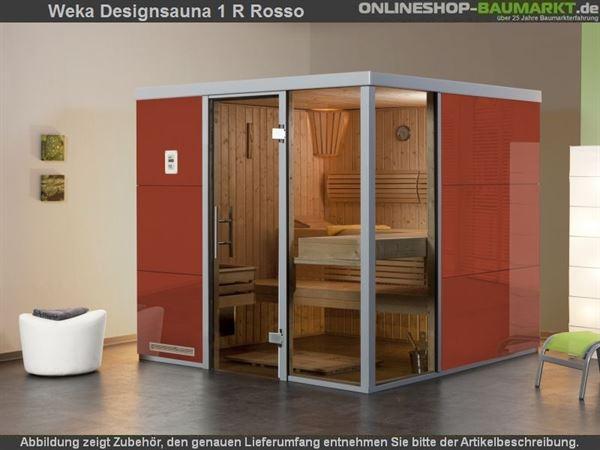 Weka Wellnissage Premium Designsauna 1R Rosso ohne Ofen inkl. Montage