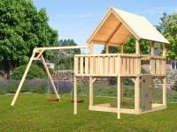 Akubi Spielturm Luis Satteldach + Doppelschaukel + Anbauplattform + Kletterwand
