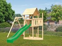 Akubi Spielturm Lotti Satteldach + Schiffsanbau oben + Einzelschaukel + Rutsche in grün