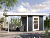 Weka Gartenhaus 172 Größe 1 in anthrazit mit Anbaudach 300 cm